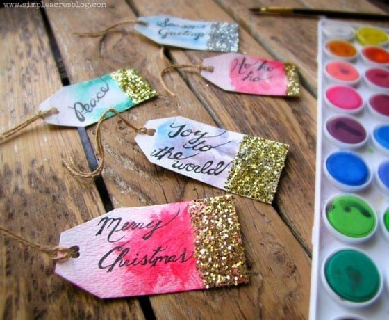 3-glitter watercolor gift tags