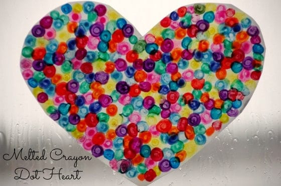 Melted Crayon Dot Heart Craft for Valentine's Day