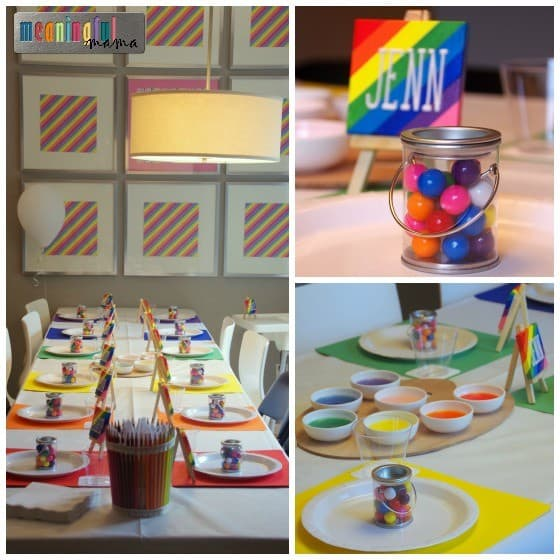Art Birthday Party Ideas - Table Decorations