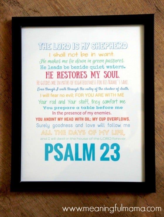 Psalm 23 Free Printable Framed Jan 28, 2016, 12-31 PM