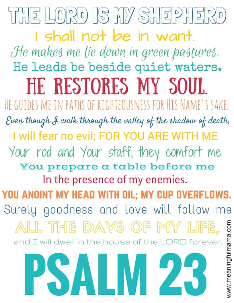Candid image regarding printable 23rd psalm