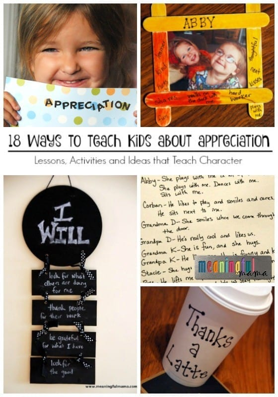 Crafts, Activities and Lessons that Teach Kids about Appreciation