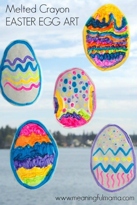 Melted Crayon Easter Egg Art and Craft for Kids