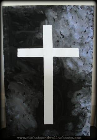 Tape Resist Cross Art