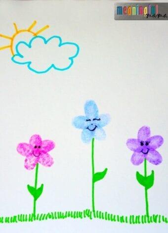 Flower Fingerprint Craft for Kids