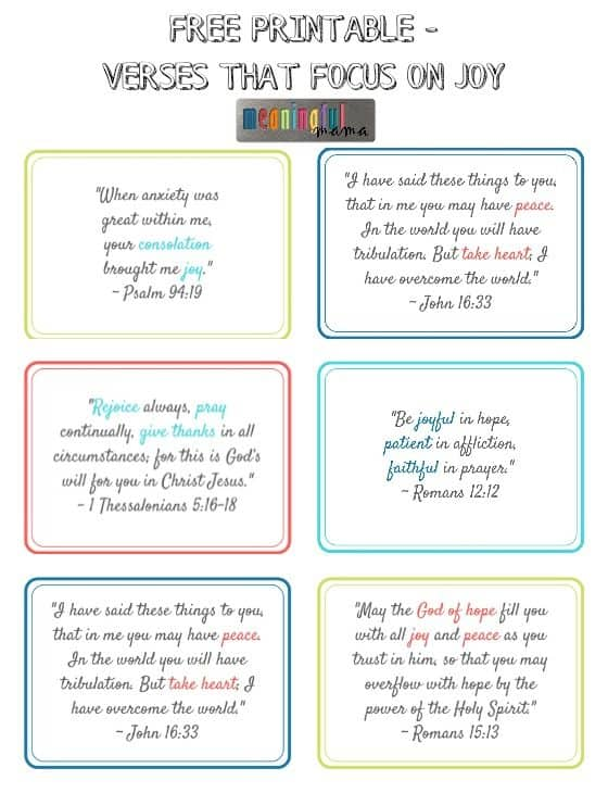 Verses About Joy - Free Printable