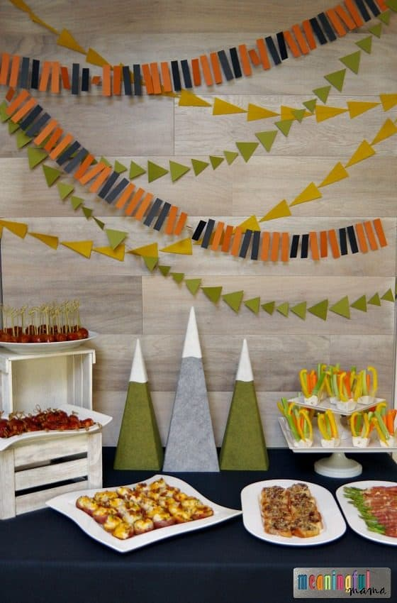 mountain themed baby shower appetizer table
