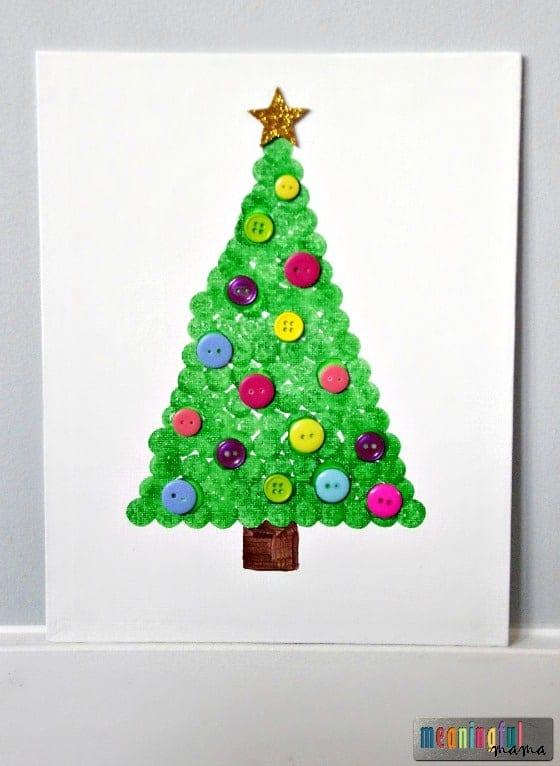 Christmas tree dot art craft on canvas nov 23 2016 3 54 pm for Christmas tree arts and crafts