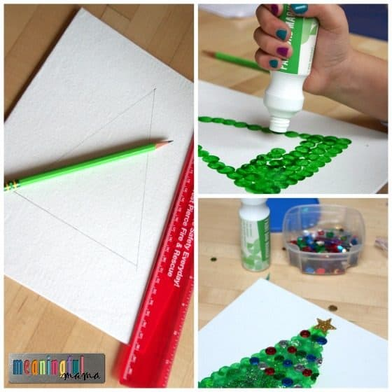 dot-paint-christmas-tree-craft-on-canvas