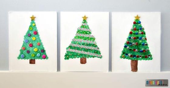 dot-paint-christmas-tree-on-canvas