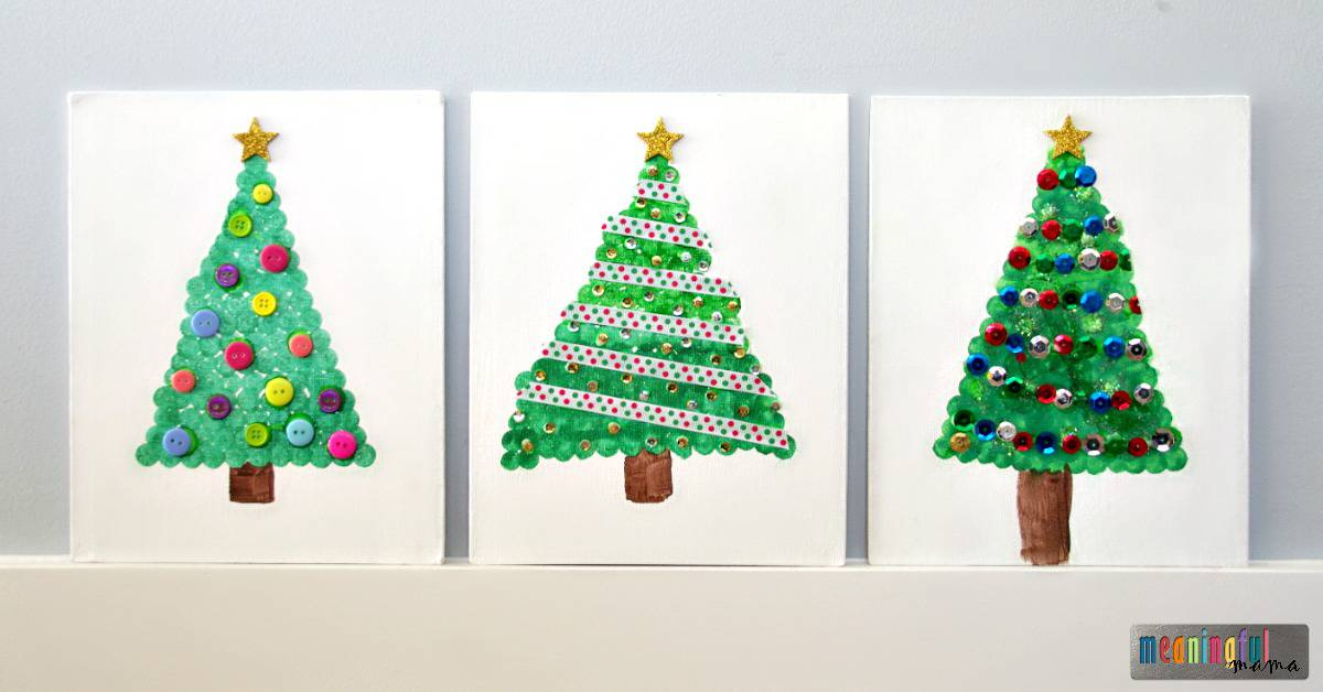 dot paint christmas tree on canvas - How To Paint A Christmas Tree
