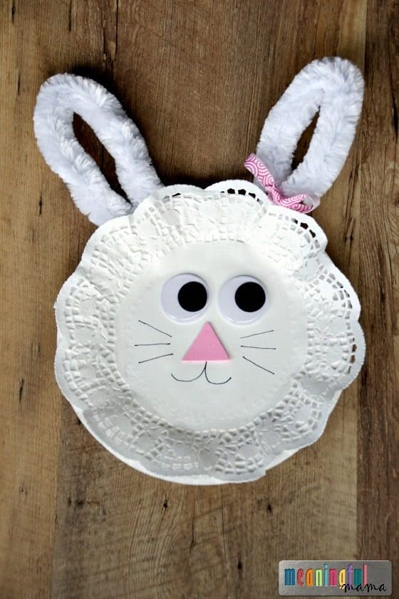 Affiliate links provided for your convenience. Anything you purchase through these links helps to support Meaningful Mama and the free resources I provide. & Easter Bunny Paper Plate and Doily Craft for Kids