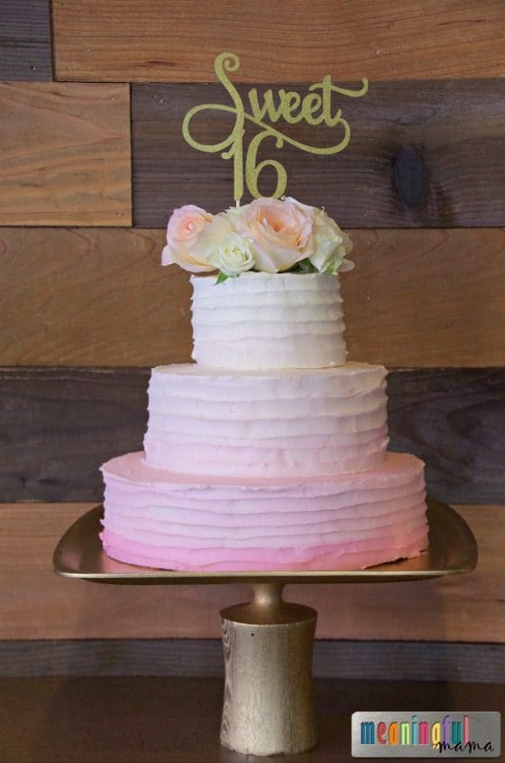 Sweet Sixteen Pink Ombre Cake