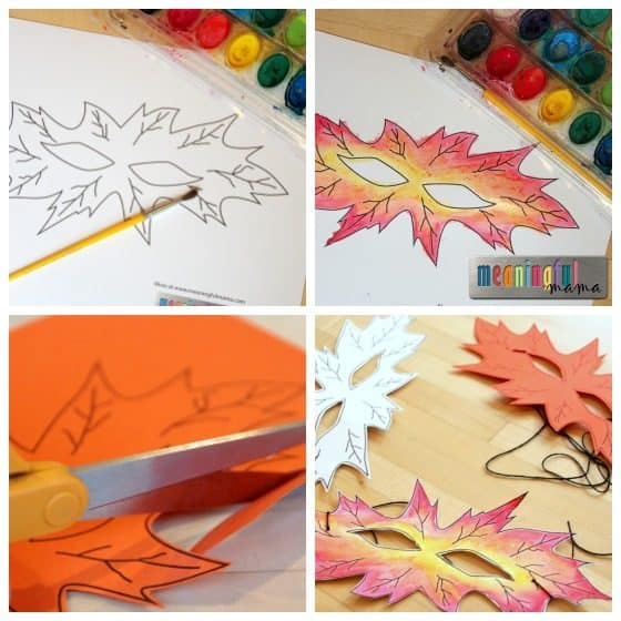 Harvest leaf masks for kids for Harvest crafts for kids