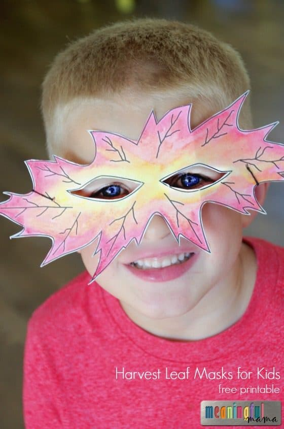 Harvest Leaf Masks for Kids