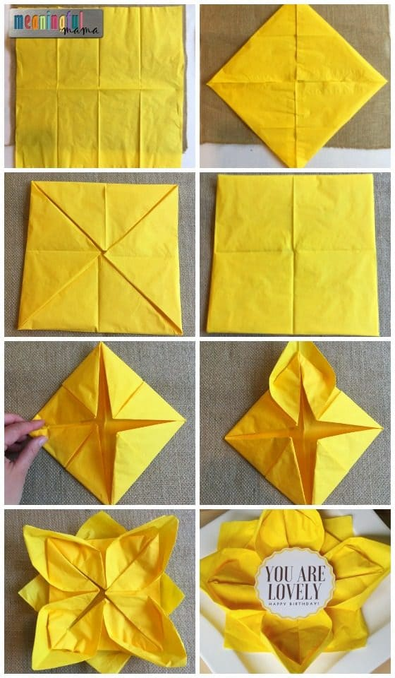 Flower paper napkin folding with sunflower table decorations mightylinksfo