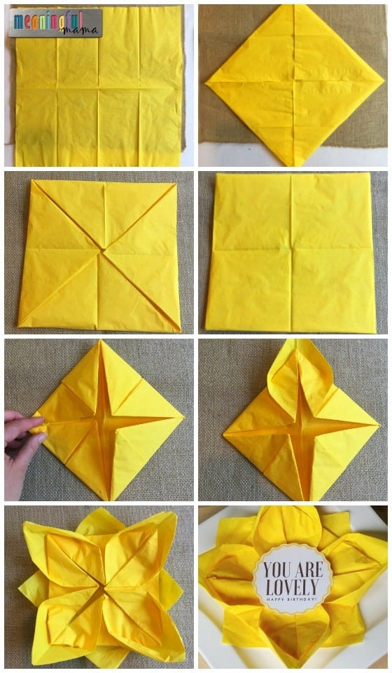 How to fold a paper napkin lotus flower or sunflower how to fold a paper napkin lotus flower or sunflower mightylinksfo