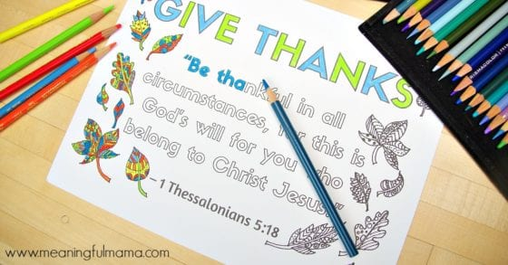 1 Thessalonians 5:18 Coloring Sheet about Thankfulness