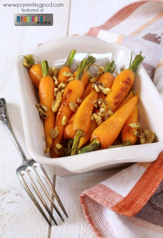 Brown Butter Maple-Glazed Baby Carrots with Pecans