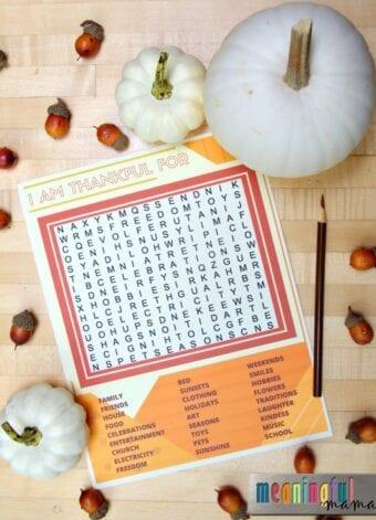 Thanksgiving Word Search that Teaches Thankfulness