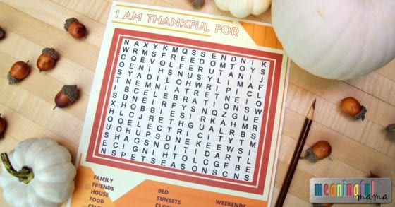Thanksgiving Thankfulness Word Search