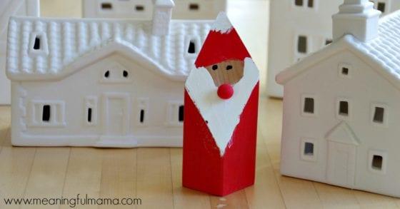 Woodblock Santa Claus Craft for Kids