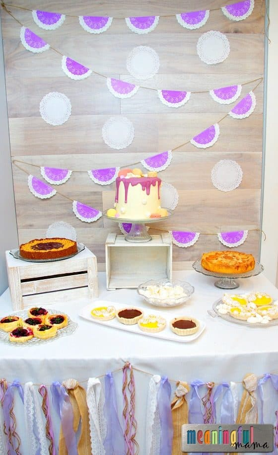 french country baby shower dessert table