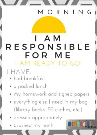 """I am Responsible for Me"" Printable for Teaching Kids Responsibility"