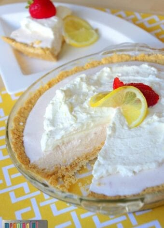 Strawberry Lemonade Ice Cream Pie with a Lemon Oreo Crust