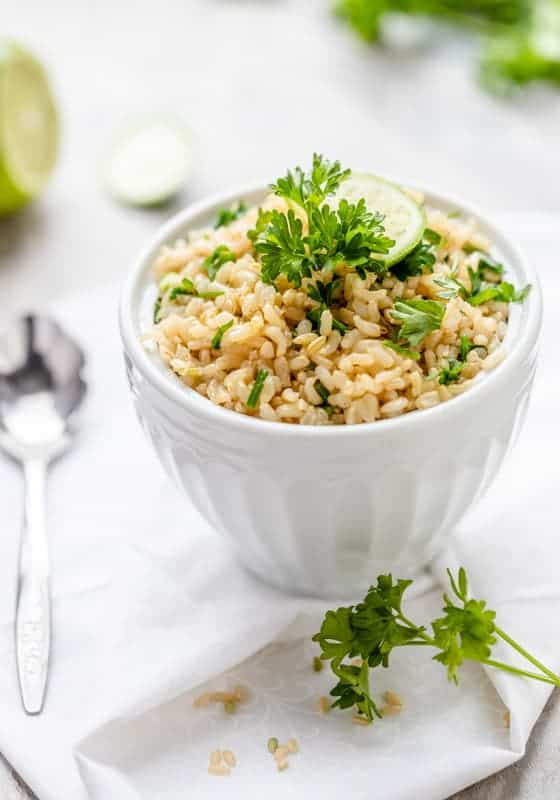 Lemon-Garlic Brown Rice with Parsley