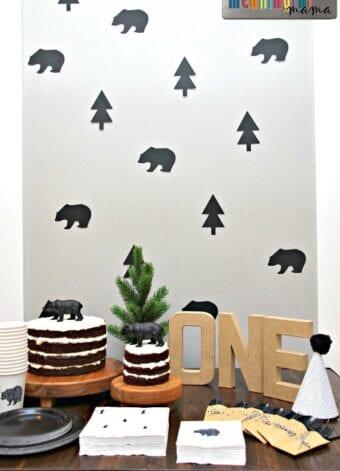 Modern Black Bear First Birthday Party