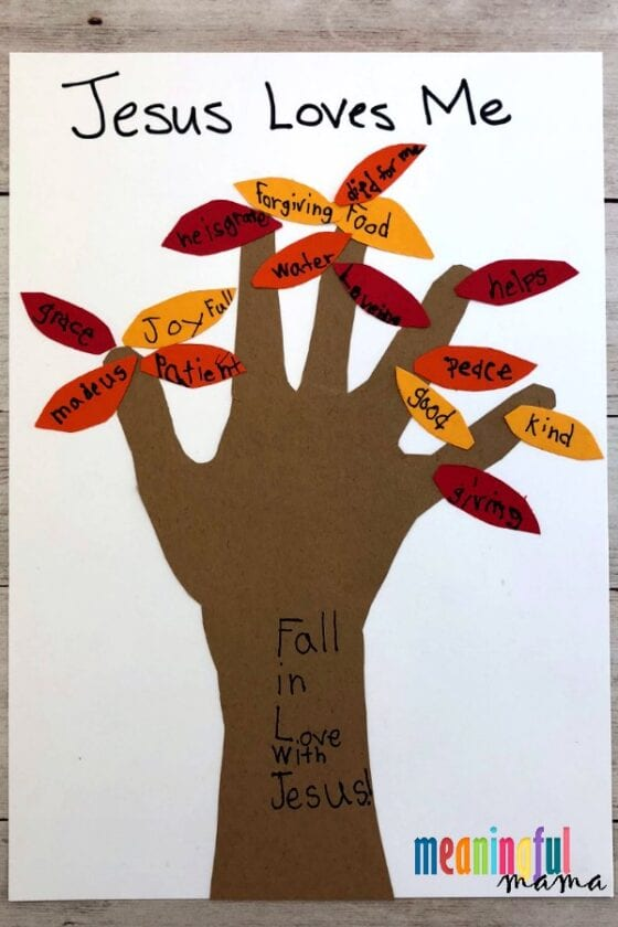Fall Leaf Handprint Craft for Sunday School