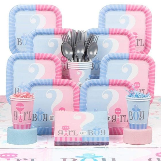 gender reveal plates napkins and cups