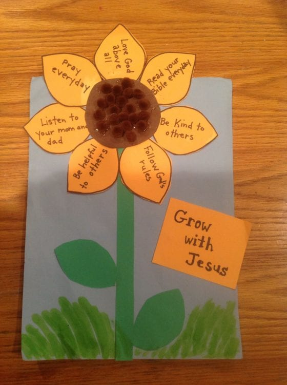 Fall Sunflower Bible Craft