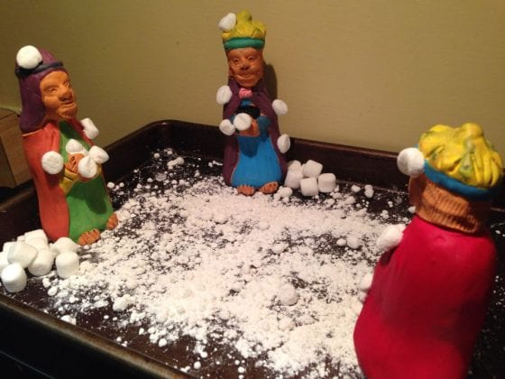 wandering wise men have snowball fight