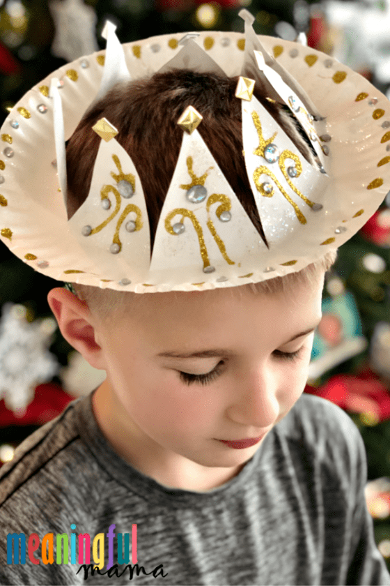 Boy in Wise Men Paper Plate Crown