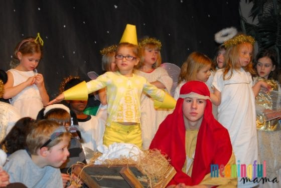 Child Dressed as Star in Nativity Play