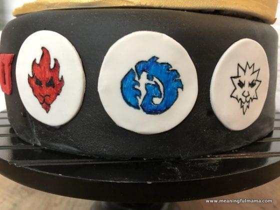 Ninjago character symbols on side of cake