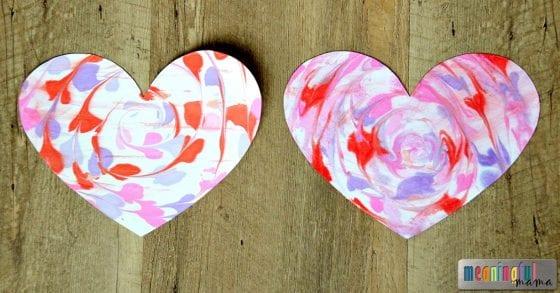 Marbled Hearts Made from Shaving Cream