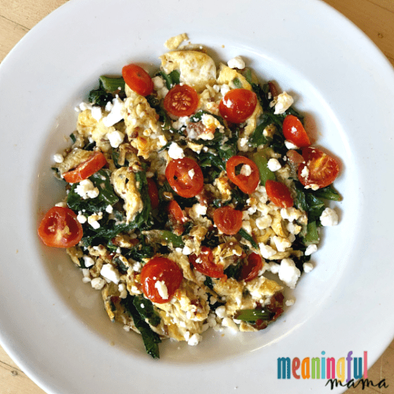Mixed Greens, Goat Cheese and Bacon Breakfast Scramble