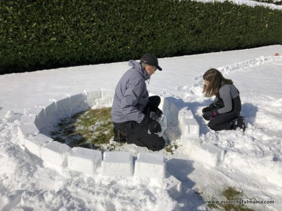 bottom layer of building an igloo