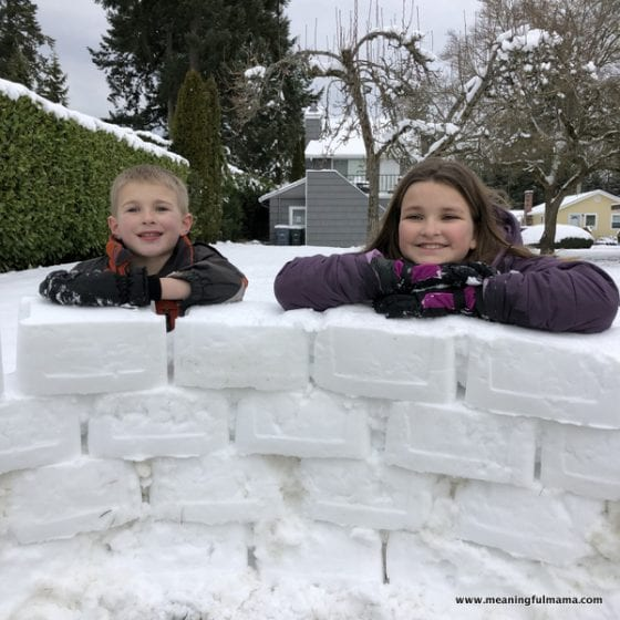 kids building an igloo