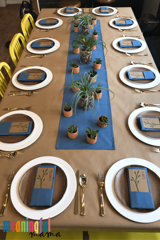table decorations and settings for succulent baby shower