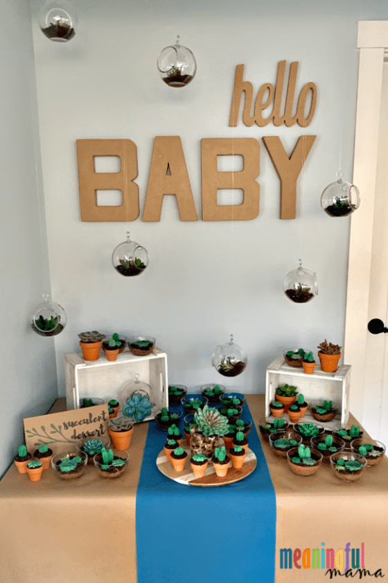 Succulent Baby Shower Dessert Table Ideas