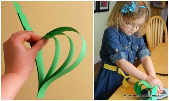 kids making a Four Leaf Clover Paper Craft