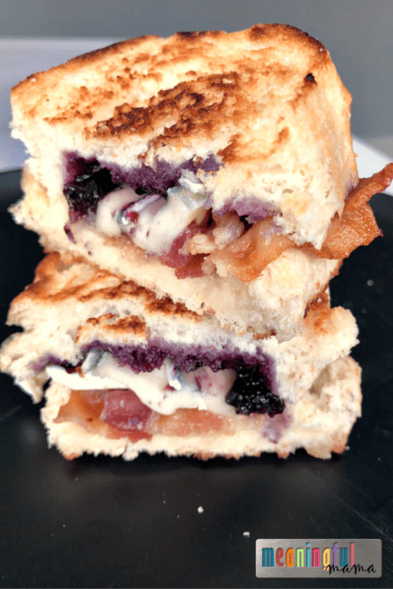 Brie Bacon and Blueberry Sauce Gourmet Grilled Cheese