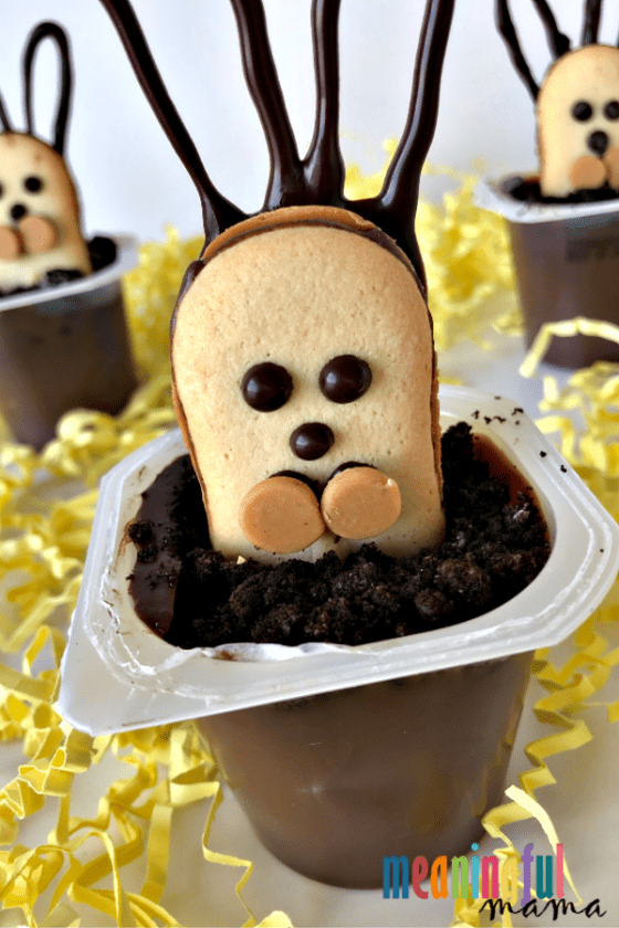 Easter Bunny Cookie Pudding Cups