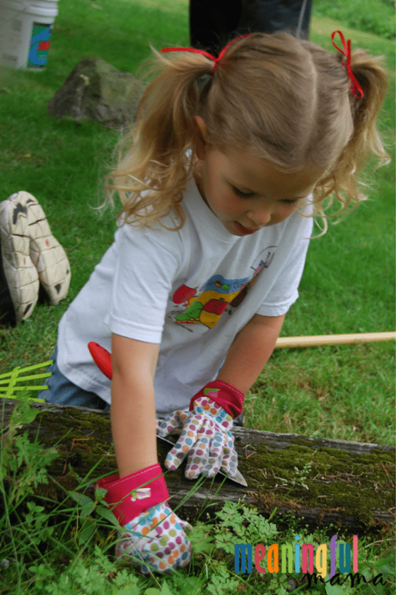 Child Serving by Weeding for Elderly