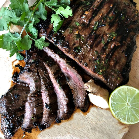 Thai Marinated Flank Steak Recipe on Cutting Board