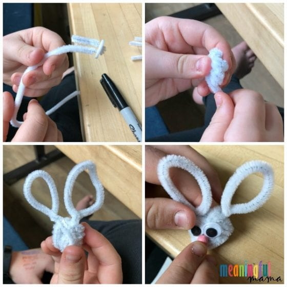 child making a bunny pipe cleaner ring craft for EAster